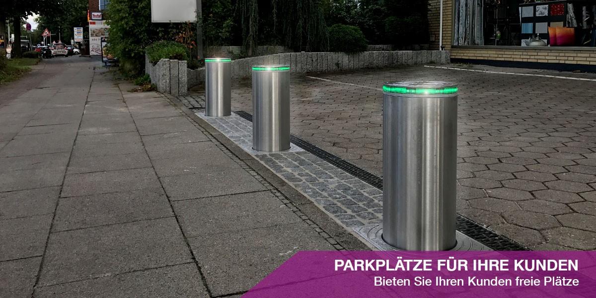 Parkplatzsperre mit Pollern versenkbar
